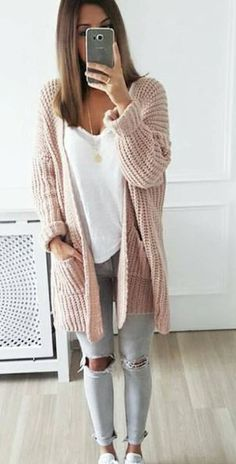 Grey denims, white shirt and blush cardigan