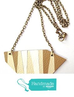 Handmade statement leather necklace/pendant, simple geometric minimalist necklace pendant in cream beige brown with copper/bronze chain, gift for her, mother's gift, chain necklace, fashion necklace, trend necklace, leather accessory, simple design necklace from Pieces and More https://www.amazon.co.uk/dp/B06XKVZGB9/ref=hnd_sw_r_pi_dp_CMOYybEQC2R9N #handmadeatamazon