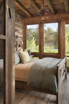 Rustic bedroom with beautiful views - Traumhaus - Home Sweet Home Cabin Homes, Log Homes, Sleeping Porch, Home Fashion, Fashion Decor, Design Case, Rustic Interiors, Cabin Interiors, Home Bedroom