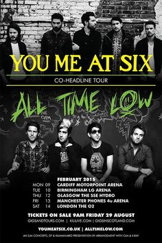 NEWS: The British rock band, You Me At Six, have announced that they will be co-headlining a UK arena tour with All Time Low, in February of 2015. You can check out the dates and details at http://digtb.us/1vCp3rv