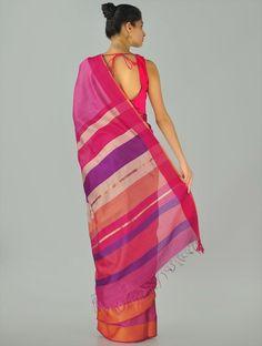 Maheshwari woven bordarsaree Handloom Saree, Silk Sarees, Saris, India Design, Cotton Silk, Hand Weaving, Cover Up, Coral, How To Wear
