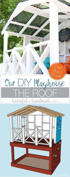 Build the perfect outdoor playhouse for the kids. Get hours of imaginative play with this DIY playhouse. Complete with slide, sandbox, climbing wall, and covered clubhouse. All the details are on Housefulofhandmade.com