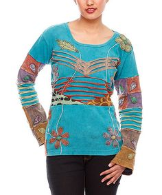Take a look at this Turquoise Floral Embroidered Patchwork Top - Women by Rising International on #zulily today!