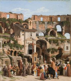 Christoffer Wilhelm Eckersberg (1783–1853) View of the interior of the Colosseum, 1815/1816 English: w25.6 x h 29.1 cm The Hirschsprung Collection