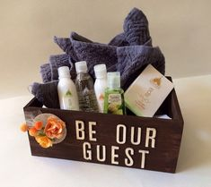 Be Our Guest - Guest Room Box with yellow / orange paper flower