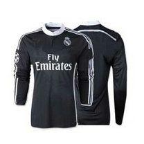 14-15 Real Madrid Football Shirt Cheap Away black Long Sleeve Replica Jersey [A791]