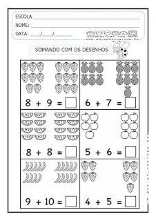 SOMANDO COM DESENHOS - 2º PERÍODO/ 1º ANO ~ Alfabetizar com AMOR