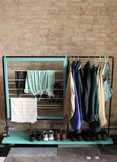 Small Space Solution: Cool & Colorful DIY Clothes Rack @ Split The Lark [the link doesn't work, but the idea does & the materials are listed] (@ apartment therapy)