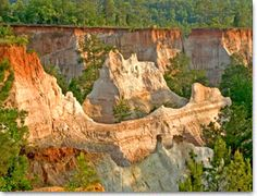 "Providence Canyon State Outdoor Recreation Area in Lumpkin, GA is Georgia's ""Little Grand Canyon."""
