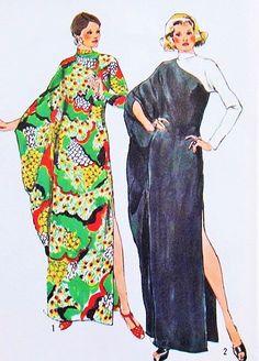 70s Elegant Evening CAFTAN Pattern Simplicity 5971 Dramatic 1 Arm Drape Lounging Gown Hostess Dress Bust 38-40 Vintage Sewing Pattern UNCUT