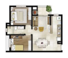 Small Apartment Plans, Apartment Floor Plans, One Bedroom Apartment, Small Apartments, Sims 4 House Design, Sims House, Small House Plans, House Floor Plans, Facade House