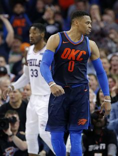 Oklahoma City's Russell Westbrook (0) reacts after a dunk during the NBA basketball game between the Philadelphia 76ers and Oklahoma City Thunder at Chesapeake Energy Arena, Sunday, Jan. 28, 2018. Photo by Sarah Phipps, The Oklahoman