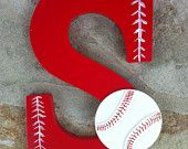 Decorative Handpainted Letter S with Baseball theme