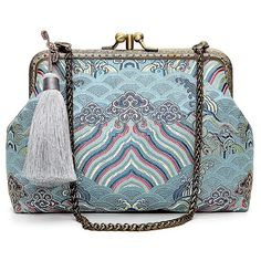 Tassel Brocade Vintage Day Clutches (3,555 INR) ❤ liked on Polyvore featuring bags, handbags, clutches, brocade purse, tassel purse, blue clutches, tassel handbag and brocade handbags