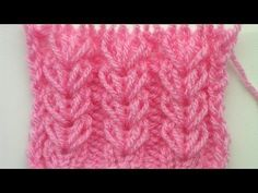 "Knitting pattern, the elongated stitch that forms the ""wheat ear"" is achieved by knitting in the row below; pattern in total Knitting Stiches, Knitting Videos, Crochet Videos, Lace Knitting, Knitting Projects, Crochet Stitches, Crochet Projects, Knit Crochet, Free Crochet"