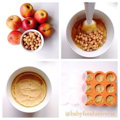 Baby purees with chick pea and apple, suitable from 6 months old