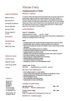 administrative clerk resume clerical sample template job description clerical duties - Clerical Resume Templates