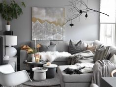 Gray-white themed living room decor and furniture to a dark- / greyish parquet flo . - Gray-white themed living room decor and furniture to a dark- / greyish parquet flooring. Home Decor Inspiration, Interior, Living Room Scandinavian, House Interior, Apartment Decor, Room Decor, Living Room Grey, Living Room Inspiration, Interior Design