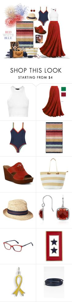 """""""Red, White & Blue"""" by sassafrasgal ❤ liked on Polyvore featuring Topshop, kiini, Missoni Home, Spring Step, Phase Eight, Lola, Blue Nile, Tommy Hilfiger, BillyTheTree and Nordstrom"""