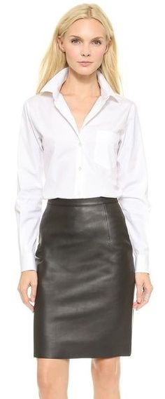 ccb9476f4b6 SK Leather - Theory Sartorial Perfect Button Down Blouse and Leather Skirt