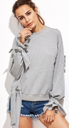 bd83e22f25a Heather Grey Cut And Sew Sweatshirt With Bow Tie Detail Fashion Details