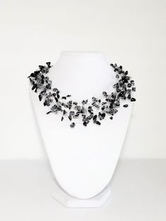 Obsidian Multistrand Floating Necklace by CraftBoutiqueCanada Gemstone Jewelry, Beaded Jewelry, Snowflake Obsidian, Multi Strand Necklace, Silver Filigree, Bead Caps, Bridesmaid Jewelry, Necklaces, Bracelets
