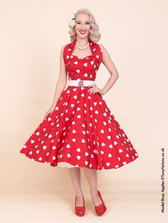 1950s Halterneck Red Sweetheart Dress - from Vivien of Holloway UK