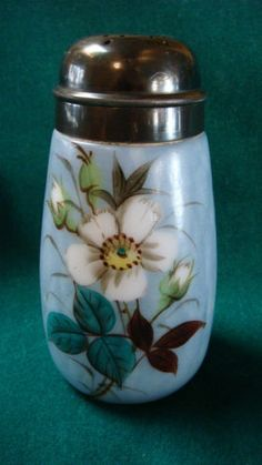 "Antique Milk Glass Sugar Shaker Blue Hand-Painted Gorgeous 5.5"".  Sold for $65.00"