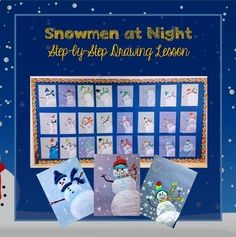 Snowmen At Night Colour Value and Drawing Lesson and Powerpoint Drawing Lessons, Painting Lessons, Art Lessons, Self Portrait Drawing, Snowmen At Night, Winter Bulletin Boards, Background Information, Bird Silhouette, Art Programs