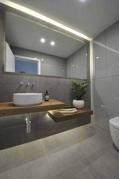 New bathroom mirror design modern powder rooms ideas Ensuite Bathrooms, Bathroom Renos, Grey Bathrooms, Bathroom Interior, Small Bathroom, Casa Bunker, Bathroom Wood Shelves, Bathroom Storage, Wooden Bathroom Vanity
