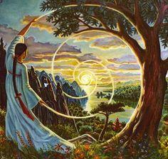 art by Sacerdotisa Marcia Sançã. Art And Illustration, Arte Inspo, Goddess Art, Visionary Art, Sacred Art, Psychedelic Art, Native American Art, Fantasy Art, Cool Art