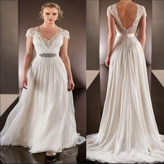 Find More Wedding Dresses Information about 2015 Spring Backless Wedding Dress with Short Sleeve Sheer V Neck Sweep Train A Line Chiffon Lace Bridal Gowns with Crystal Belt,High Quality dress ball gown,China gowns graduation Suppliers, Cheap gown evening from Lucky Godess Wedding Dress on Aliexpress.com