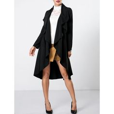 Lapel Plain Asymmetrical Hems Trench-coat ($31) ❤ liked on Polyvore featuring outerwear, coats, asymmetrical trench coat, collar coat, white coat, lapel coat and white trench coat