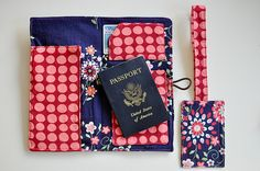 DIY Travel wallet with luggage tag ~ has a place for your travel tickets, photo ID, and passport, as well as