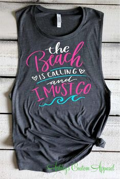 Beach Shirts For Women The Beach Is Calling And I Must Go Vacation Mode Tank Top Girls Trip Shirts Beach Vacation Tee Beach Please Tanks Please see additional photos for product measurements. Please add any color or text changes to the notes section on your order form. Please inquire with any questions You can change the color of the text to most any solid color. When selecting a tank color please keep the color of the text in mind. Example: If you order a neon orange tank, please add a new text Beach Tanks, Beach Shirts, Beach Vacation Outfits, Family Vacation Shirts, Muscle Tanks, Travel Shirts, Summer Tank Tops, Woman Beach, Shirts With Sayings