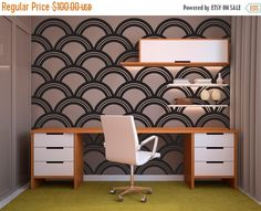 ON SALE Art Deco Scallop Pattern Decal - Wall Decal Custom Vinyl Art Stickers for Hotels, Classrooms, Bedrooms, Homes, Nurseries