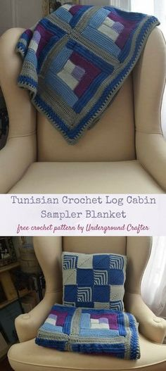 Free crochet pattern: Tunisian Crochet Log Cabin Sampler Blanket in HiKoo SimpliWorsted in 5 sizes from baby blanket through queen by Underground Crafter | The Tunisian Crochet Log Cabin Sampler Blanket guides you through all the basic Tunisian crochet stitches while you make a cozy blanket in the classic log cabin pattern. I've included links to video tutorials to guide you through all the special stitches, so though the pattern is listed as intermediate, a focused beginner can definitely…