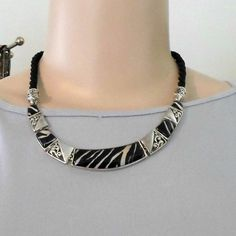 Necklace black cord rigid sections resin zebra design 18 inch long heavy #Unbranded #Collar