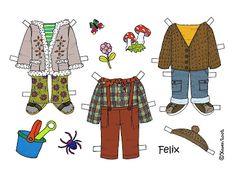 Karen`s Paper Dolls: Felix 1-3 Paper Doll in Colours. Felix 1-3 påklædningsdukke i farver.
