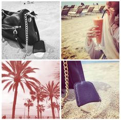 Lucy with her favorite summer accessory in Barcelona #gglworld -leather nown clutch available in August on our webshop
