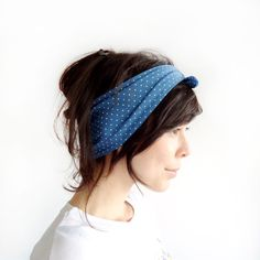 Tie Up Headscarf Blue and White Polka Dot  £12.00