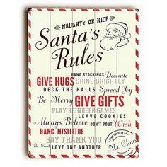 Santa's Rules Wood Sign
