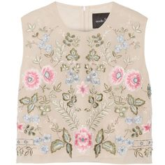 Needle & Thread - Cropped Embellished Chiffon Top (280 TND) ❤ liked on Polyvore featuring tops, beige, chiffon tops, loose fit crop top, beige top, pink top and embellished crop top