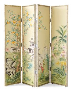 Room Screen by Jardins Du Jour Dressing Screen, Japanese Screen, Decorative Screens, Room Screen, Fireplace Screens, Chinoiserie Chic, Asian Decor, Elle Decor, Painted Furniture