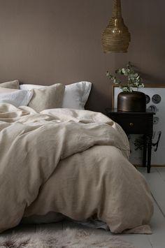 Hør sengesæt i lærredsbeige sæt med dyne og pudebetræk kr. 999,-