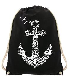 c70371413cddd Gym bag anchor birds Drawstring backpack black sea Gymbag Cotton Screen  printing hand-printed
