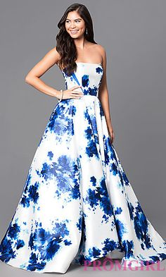 Long Floor-Length Floral Print Peep Toe Prom Dress at PromGirl.com