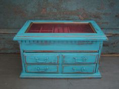 Jewelry Box Turquoise Distressed Wooden $44