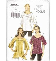 Vogue V8452 Bias Tape Loose-fitting Tunics Sewing Pattern Miss 8-10-12-14-16