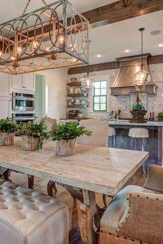 Boho Apartment, Design Apartment, Modern Farmhouse Kitchens, Home Kitchens, Dream Kitchens, Rustic Country Kitchens, Italian Farmhouse Decor, Italian Home Decor, Country Modern Home
